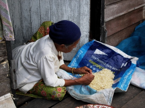 A little old lady drying rice by her hut