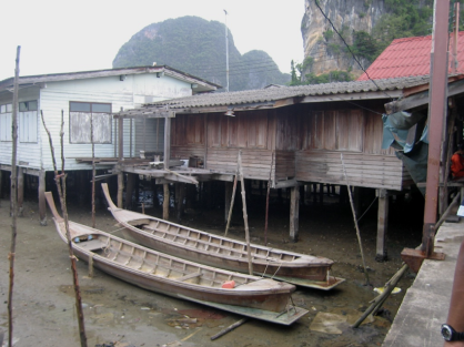 Huts on stilts
